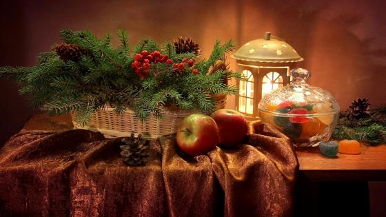 Winter still life wallpaper