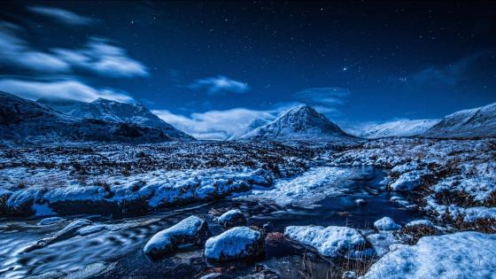 Night winter landscape wallpaper