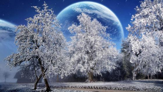 Blue moon on the sky - Fantasy art wallpaper