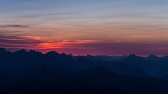 Sunrise over the ridges wallpaper