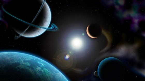 Planetary system - Space art wallpaper