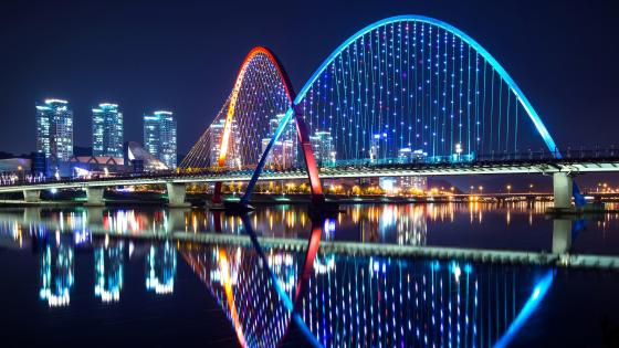 Expo Bridge at night (Daejeon, South Korea) wallpaper