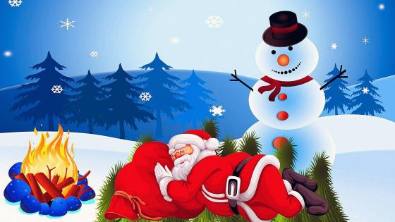 Lazy Santa Claus and a Snowman wallpaper
