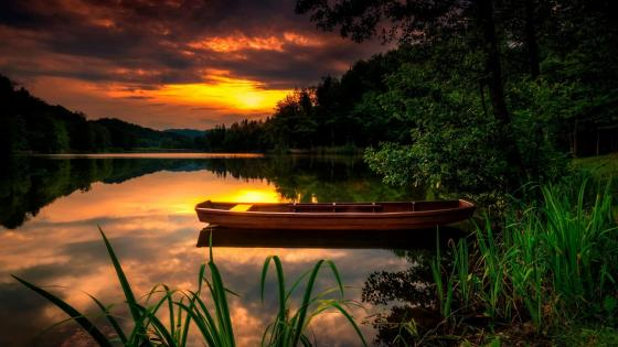 Boat in the sunset wallpaper