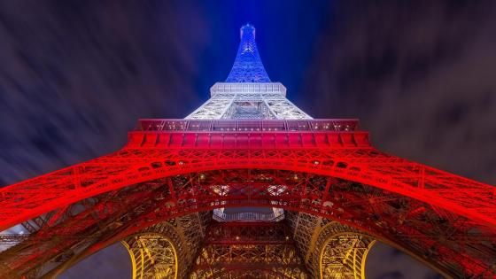 Eiffel Tower in French colors wallpaper