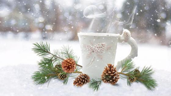 Hot coffee steam in the snowfall wallpaper