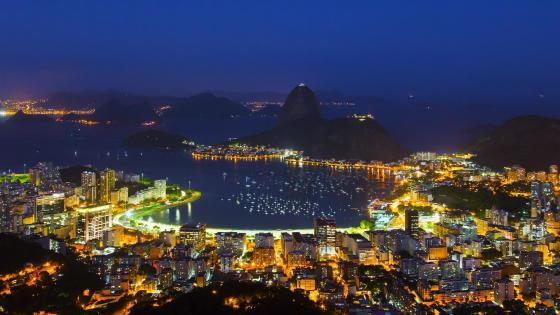 Botafogo Beach and Sugarloaf Mountain at night wallpaper