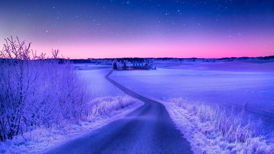 Frozen night road wallpaper