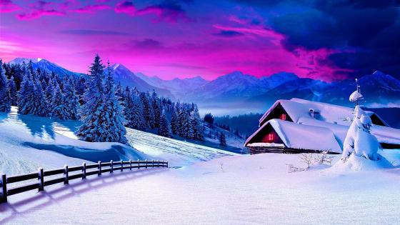 Snowy mountain landscape wallpaper