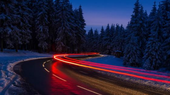 Car light trails wallpaper