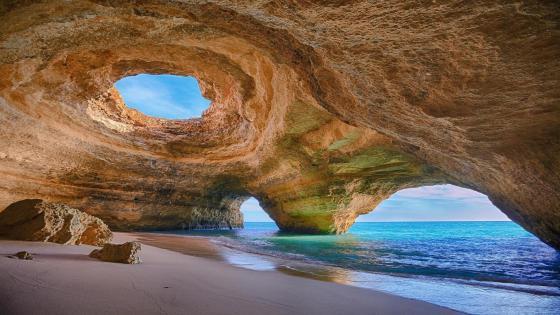 Benagil Sea Cave near Algarve, Portugal wallpaper