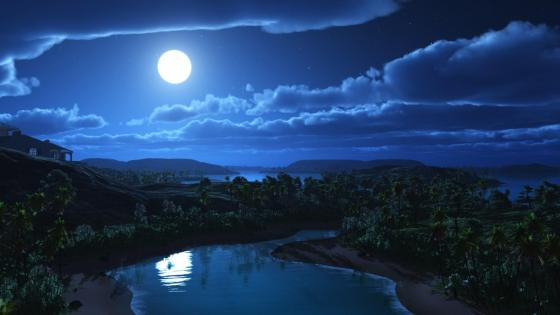 Moonlit reflection wallpaper