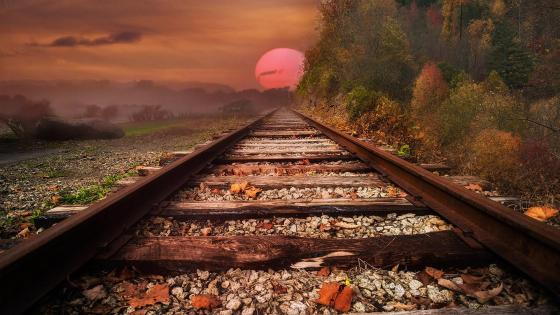 Autumn railway in the sunset wallpaper