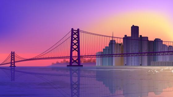 Cityscape in the purple sunset - Digital art wallpaper