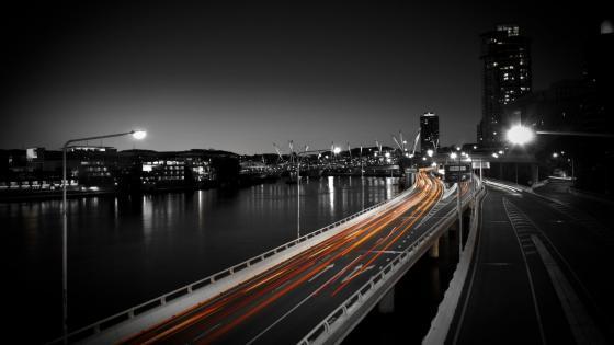 Highway at night wallpaper