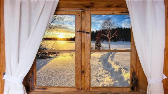 Winter view from the log cabin window wallpaper