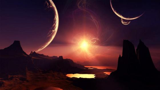 Sunset in the planet wallpaper