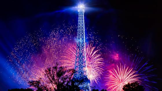 Eiffel Tower with fireworks wallpaper
