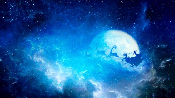 Santa Claus in the night sky wallpaper