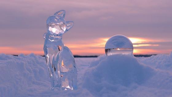 Ice sculpture cat wallpaper