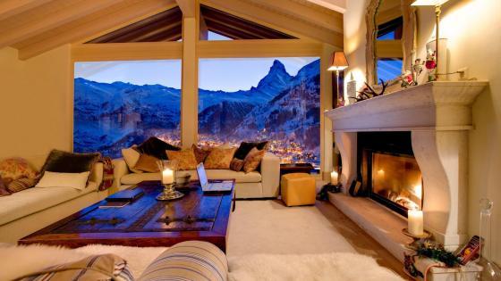 Matterhorn view form the living room - Zermatt, Switzerland wallpaper