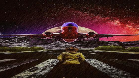 Plane in landing runway wallpaper