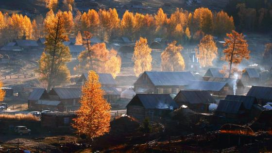 Tuva town in late autumn wallpaper
