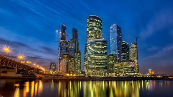 Moscow City at night wallpaper