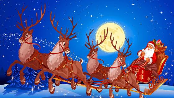 Santa Claus Sleigh with reindeers and gifts in the full moon wallpaper