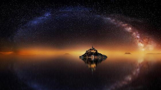 Mont-Saint-Michel under the Millky Way (France) wallpaper