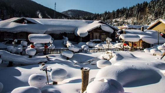 The first hometown of snow in China - Hailin wallpaper