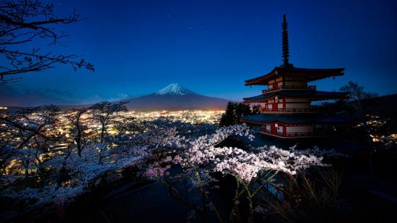 Churei Tower and Mount Fuji wallpaper