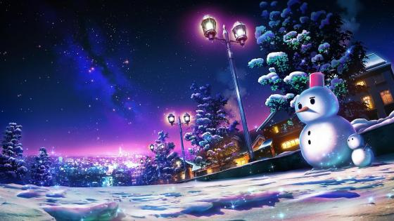 Anime night Landscape wallpaper