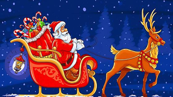 Santa Claus in a carriage with gifts wallpaper