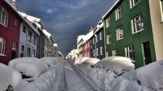 Snowy Reykjavik wallpaper
