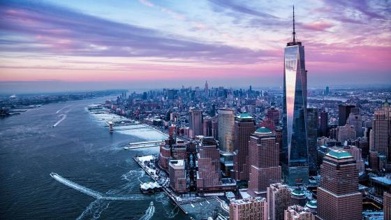 New York aerial view wallpaper
