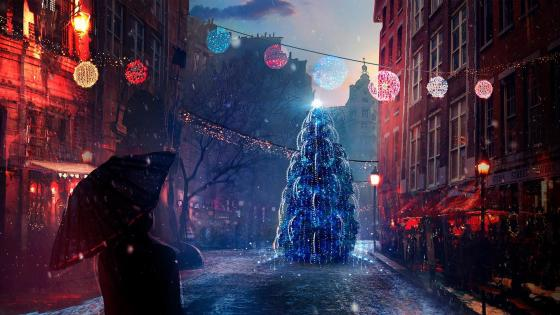 Christmas Eve lights - Digital art wallpaper