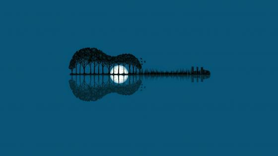 Guitar landscape - Fantasy art wallpaper