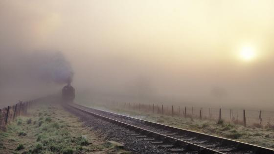 Locomotive in the mist wallpaper