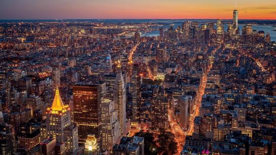 New York City aerial view at dusk wallpaper