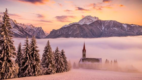 Church in the Alps wallpaper