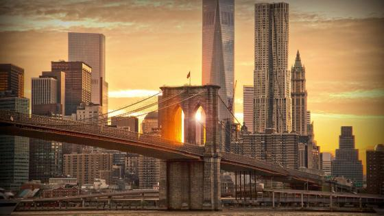 Brooklyn Bridge in the sunset wallpaper