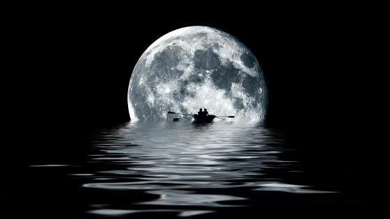 Rowing toward the moon wallpaper