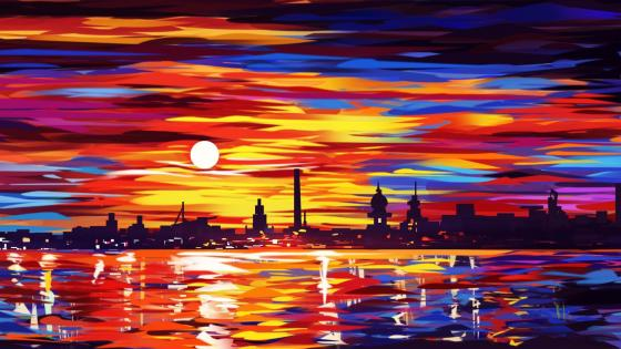 Oil painting city wallpaper