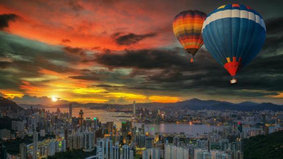 Hong Kong Island hot air ballooning wallpaper