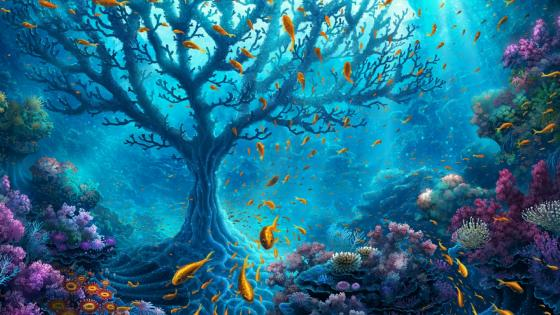 Coral tree in the ocean - Fantasy art wallpaper