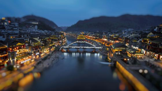 Fenghuang Ancient Town at dusk wallpaper