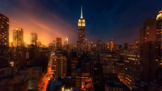 Manhattan skyline view wallpaper