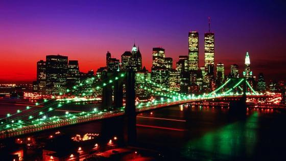 Brooklyn Bridge at night wallpaper