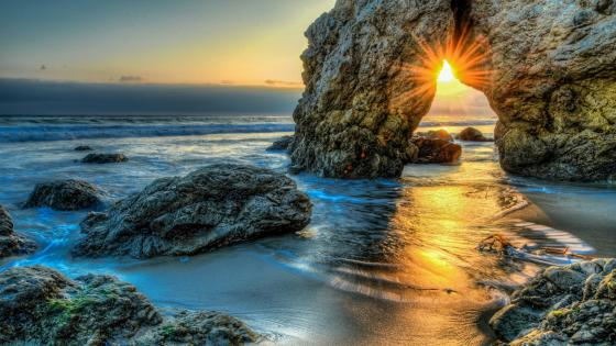 Malibu beach sunset wallpaper